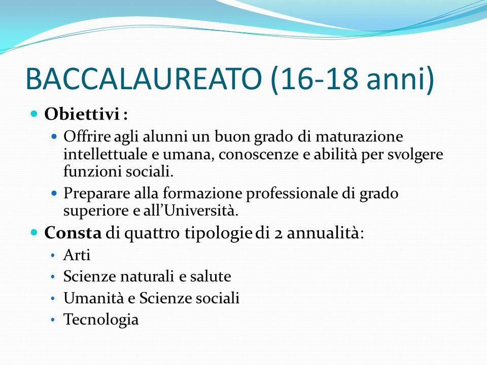BACCALAUREATO (16-18 anni) Obiettivi : Offrire agli alunni un buon grado di maturazione intellettuale e umana, conoscenze e abilità per svolgere funzioni sociali.