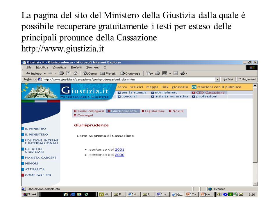 La pagina del sito del Ministero della Giustizia dalla quale è possibile recuperare gratuitamente i testi per esteso delle principali pronunce della C