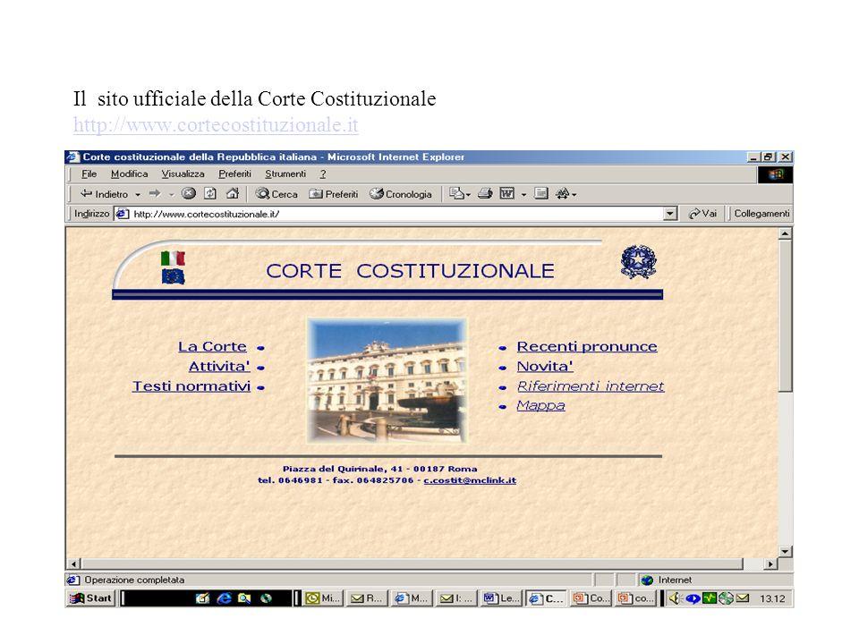 Il sito ufficiale della Corte Costituzionale http://www.cortecostituzionale.it http://www.cortecostituzionale.it