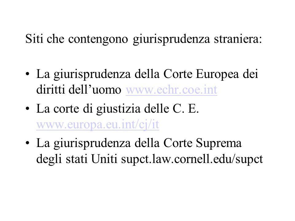 Siti che contengono giurisprudenza straniera: La giurisprudenza della Corte Europea dei diritti delluomo www.echr.coe.intwww.echr.coe.int La corte di giustizia delle C.