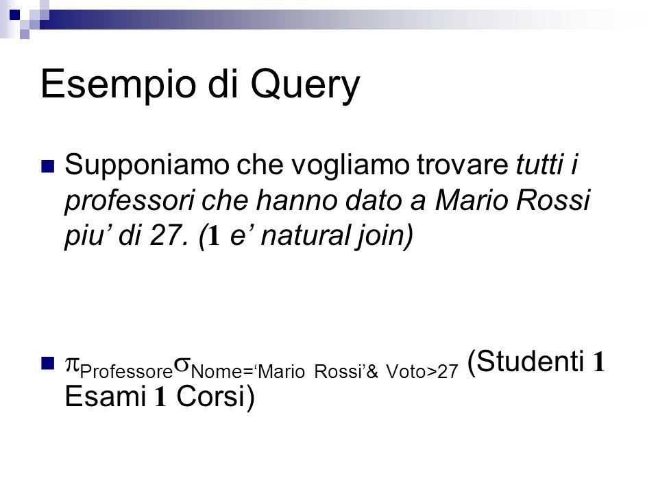Query Optimization La stessa query P Nome=Mario Rossi& Voto>27 (Studenti 1 Esami 1 Corsi) può essere espressa come P ( Nome=Mario Rossi Studenti 1 ( Voto>27 Esami 1 Corsi)) Che risulta essere molto più efficiente!