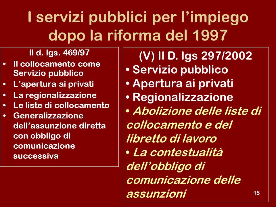 15 I servizi pubblici per limpiego dopo la riforma del 1997 (V) Il D.