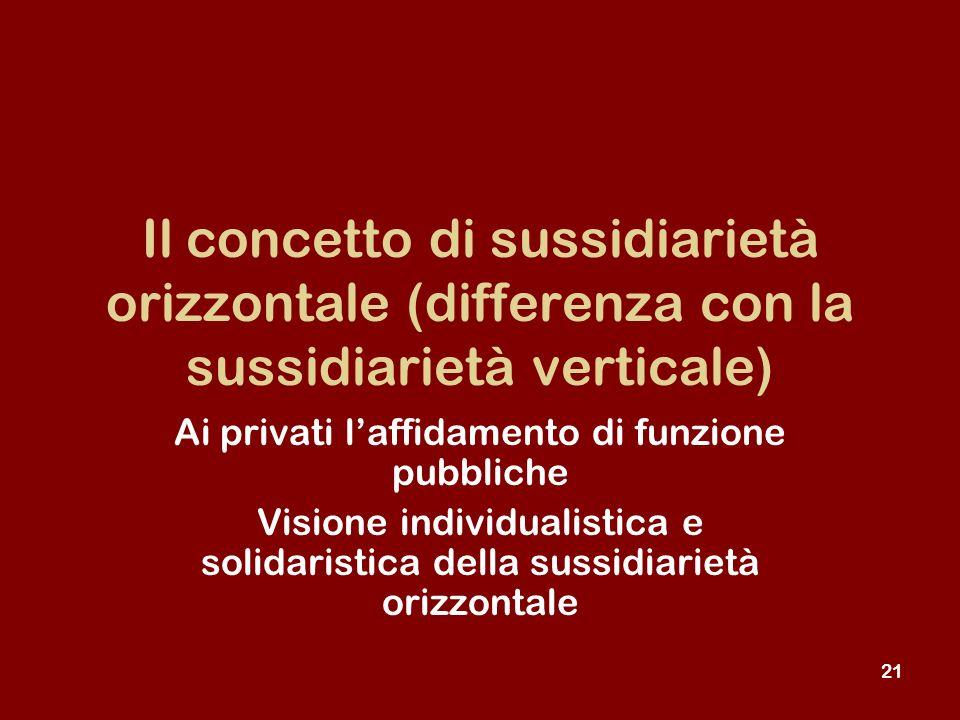 21 Il concetto di sussidiarietà orizzontale (differenza con la sussidiarietà verticale) Ai privati laffidamento di funzione pubbliche Visione individualistica e solidaristica della sussidiarietà orizzontale