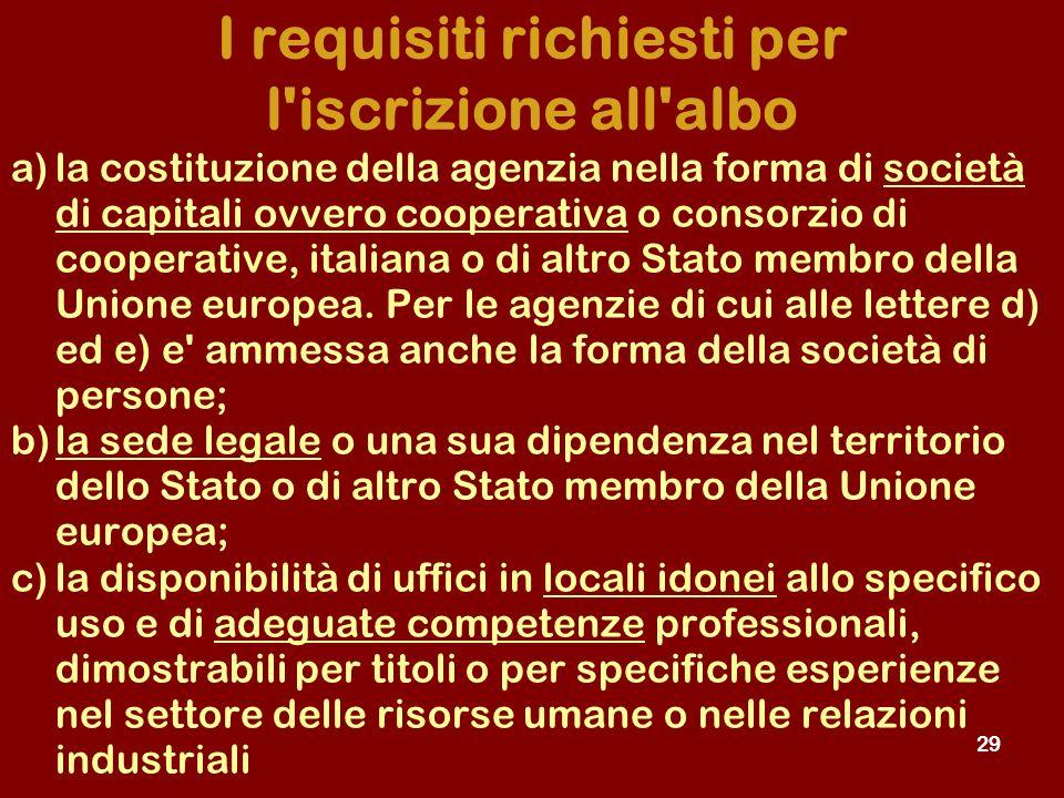 29 a)la costituzione della agenzia nella forma di società di capitali ovvero cooperativa o consorzio di cooperative, italiana o di altro Stato membro della Unione europea.