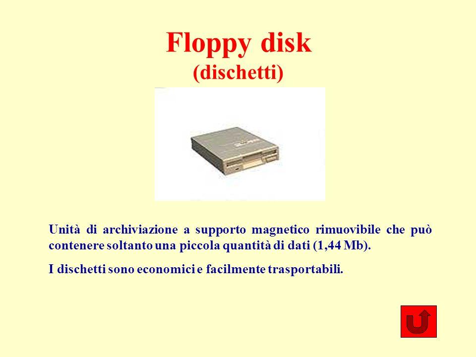 Floppy disk (dischetti) Unità di archiviazione a supporto magnetico rimuovibile che può contenere soltanto una piccola quantità di dati (1,44 Mb). I d