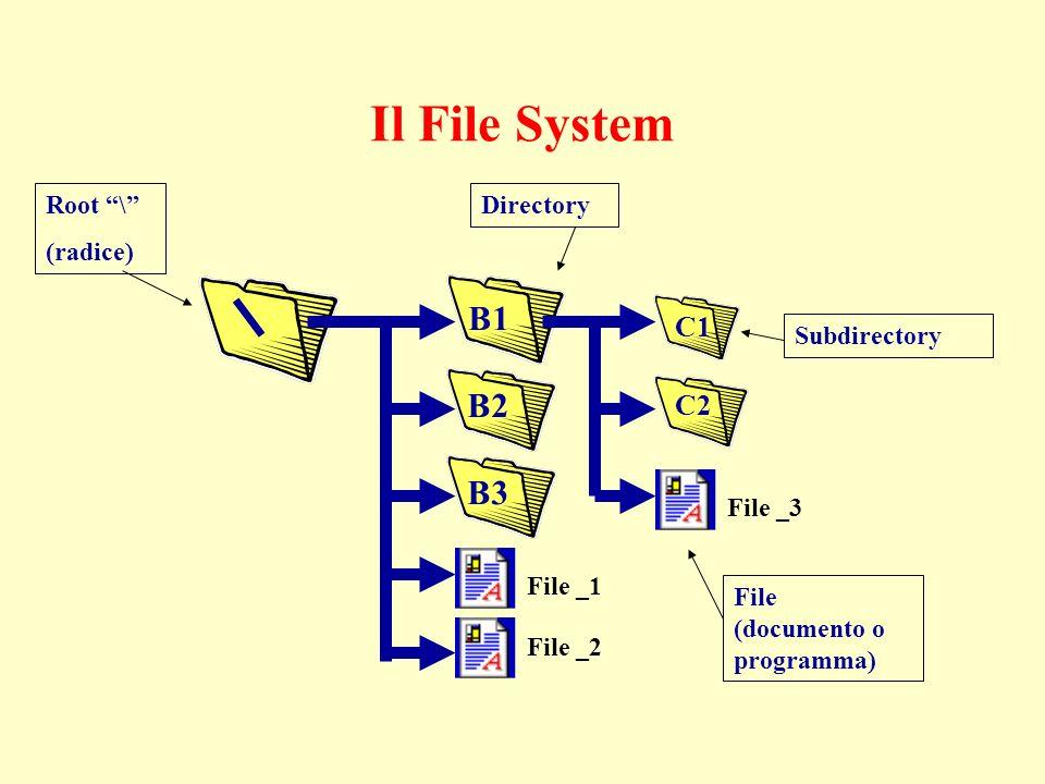 Il File System B1 B2 B3 C1 C2 File _3 File _1 File _2 Root \ (radice) Directory Subdirectory File (documento o programma)