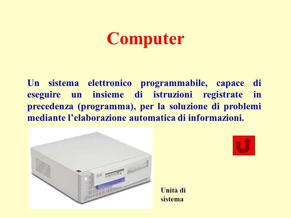 Computer Un sistema elettronico programmabile, capace di eseguire un insieme di istruzioni registrate in precedenza (programma), per la soluzione di problemi mediante lelaborazione automatica di informazioni.
