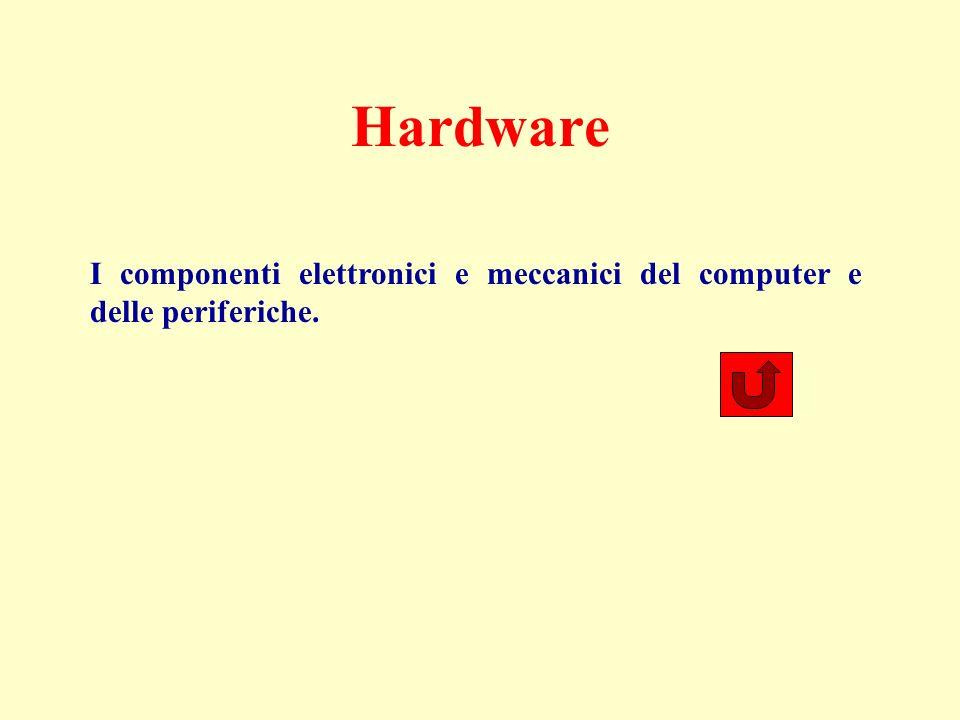 Software I programmi necessari per il funzionamento del computer (software di sistema: sistema operativo, Windows) o per la soluzione di specifici problemi (software applicativo: elaborazione di testi, fogli elettronici, database, grafica, comunicazioni, didattica, giochi…).