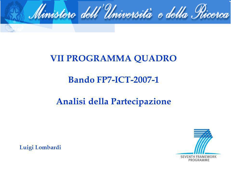 VII PROGRAMMA QUADRO Bando FP7-ICT-2007-1 Analisi della Partecipazione Luigi Lombardi