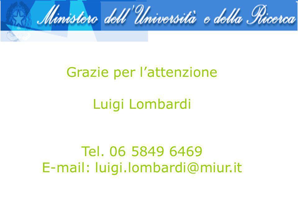 Grazie per lattenzione Luigi Lombardi Tel. 06 5849 6469 E-mail: luigi.lombardi@miur.it