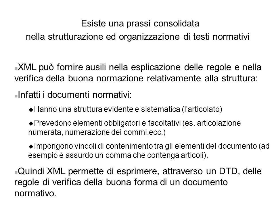 Esiste una prassi consolidata nella strutturazione ed organizzazione di testi normativi n XML può fornire ausili nella esplicazione delle regole e nel