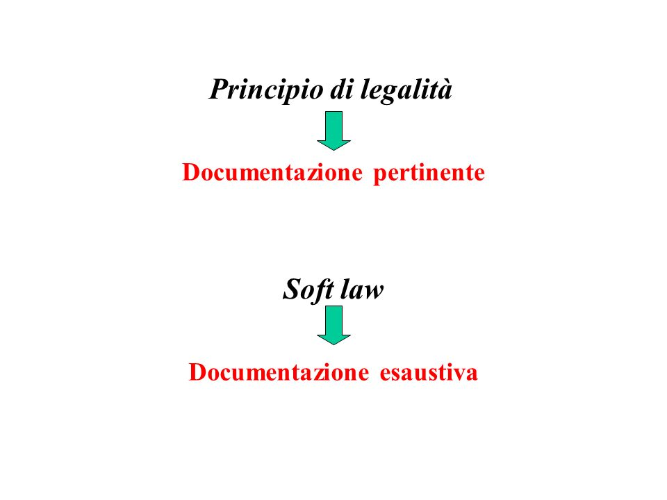 Soft law Documentazione esaustiva Principio di legalità Documentazione pertinente