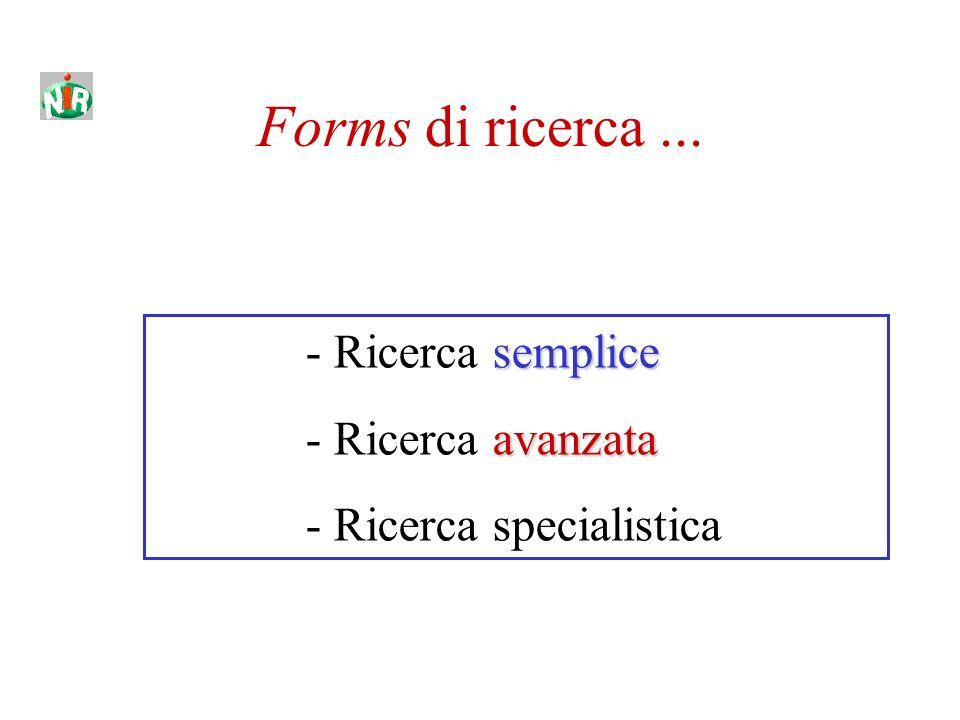 Forms di ricerca... semplice - Ricerca semplice avanzata - Ricerca avanzata - Ricerca specialistica