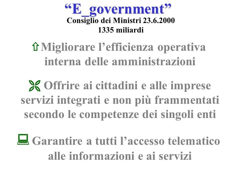 E_government Consiglio dei Ministri 23.6.2000 1335 miliardi Migliorare lefficienza operativa interna delle amministrazioni Offrire ai cittadini e alle