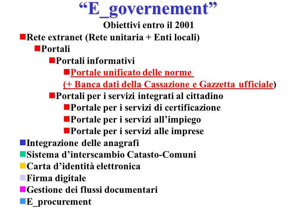 E_governement Obiettivi entro il 2001 Rete extranet (Rete unitaria + Enti locali) Portali Portali informativi Portale unificato delle norme (+ Banca d