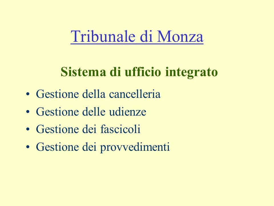 Tribunale di Monza Gestione della cancelleria Gestione delle udienze Gestione dei fascicoli Gestione dei provvedimenti Sistema di ufficio integrato