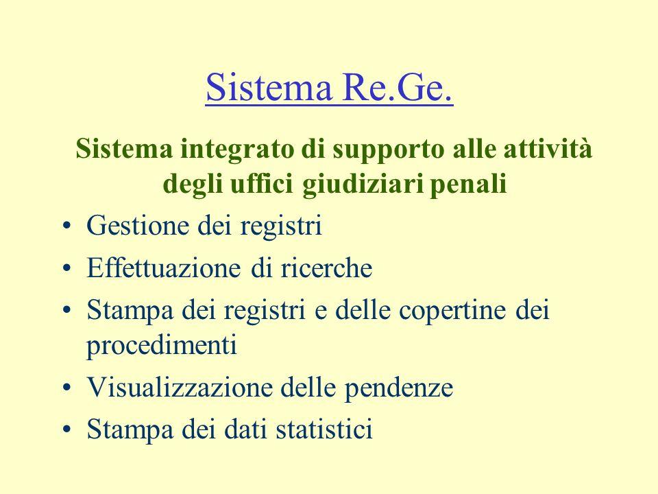 Sistema Re.Ge. Gestione dei registri Effettuazione di ricerche Stampa dei registri e delle copertine dei procedimenti Visualizzazione delle pendenze S