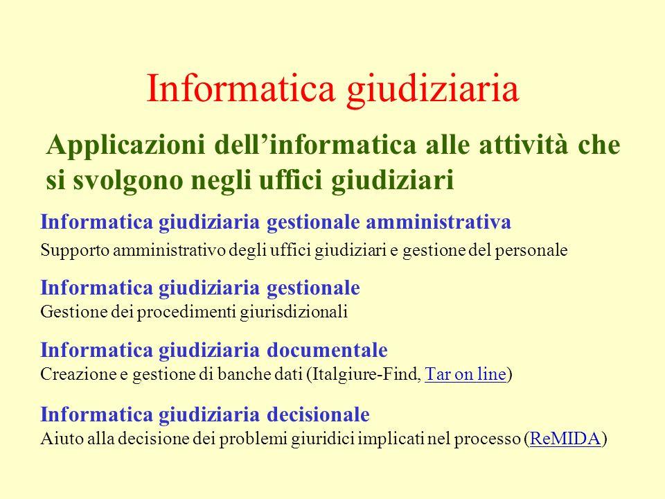 Informatica giudiziaria Informatica giudiziaria gestionale amministrativa Supporto amministrativo degli uffici giudiziari e gestione del personale Inf