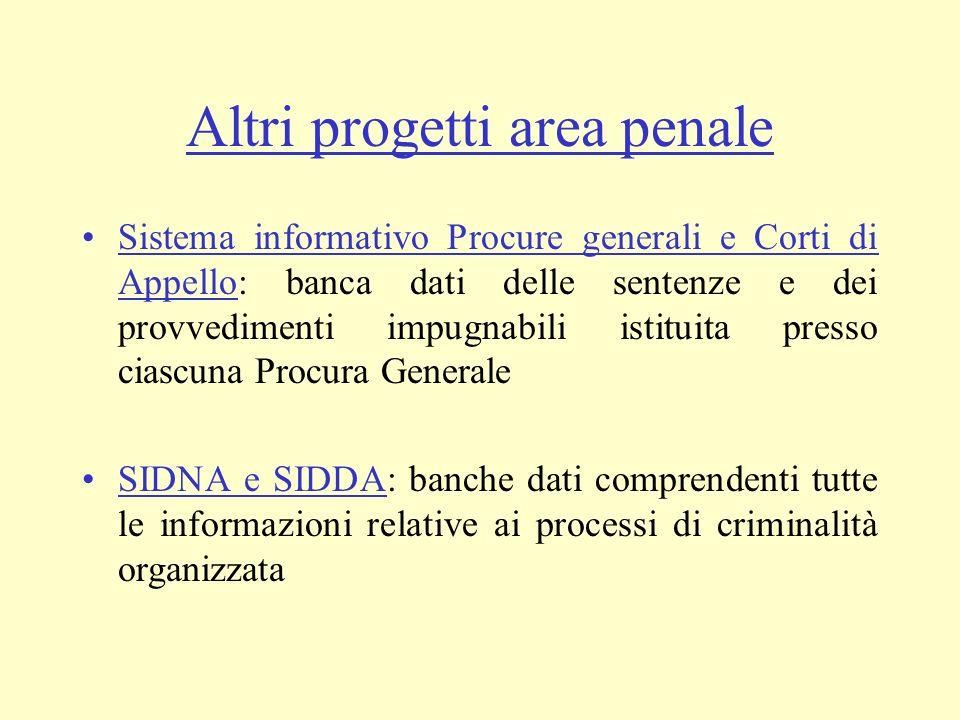 Altri progetti area penale Sistema informativo Procure generali e Corti di Appello: banca dati delle sentenze e dei provvedimenti impugnabili istituit