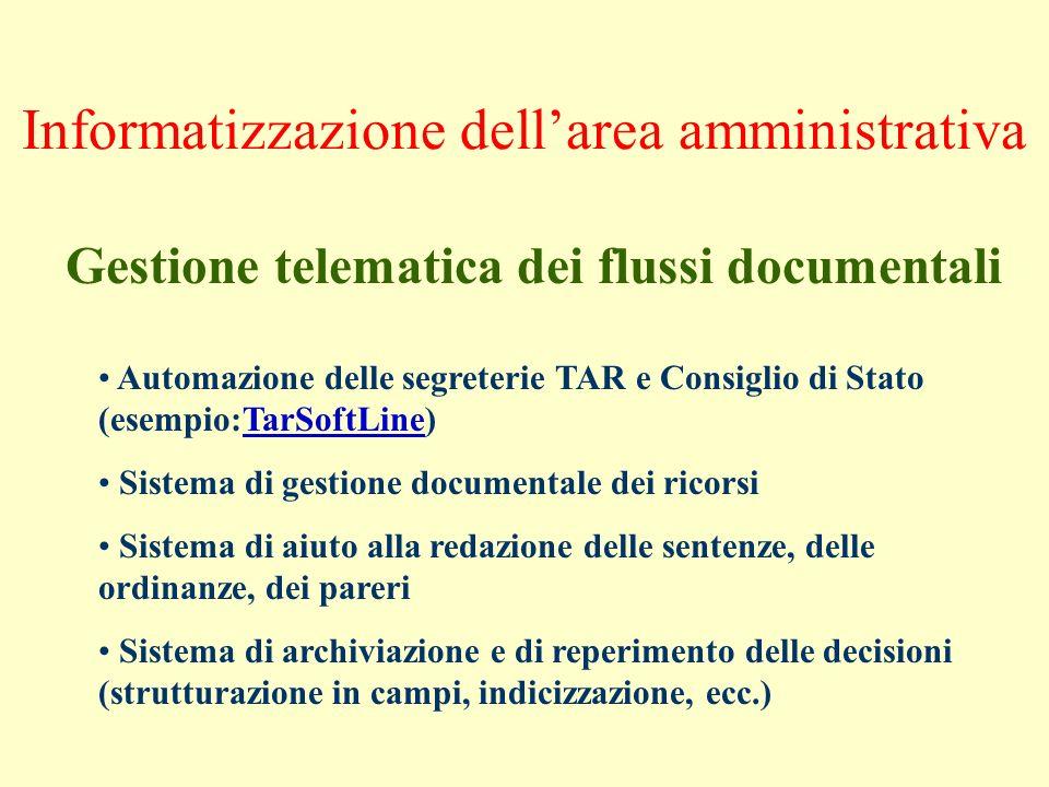 Informatizzazione dellarea amministrativa Gestione telematica dei flussi documentali Automazione delle segreterie TAR e Consiglio di Stato (esempio:Ta