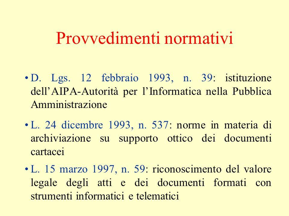 Provvedimenti normativi D. Lgs. 12 febbraio 1993, n. 39: istituzione dellAIPA-Autorità per lInformatica nella Pubblica Amministrazione L. 24 dicembre