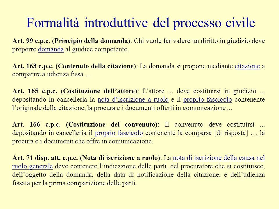 Formalità introduttive del processo civile Art.168 c.p.c.