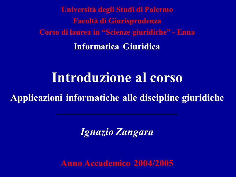 Introduzione al corso Applicazioni informatiche alle discipline giuridiche Ignazio Zangara Anno Accademico 2004/2005 Università degli Studi di Palermo