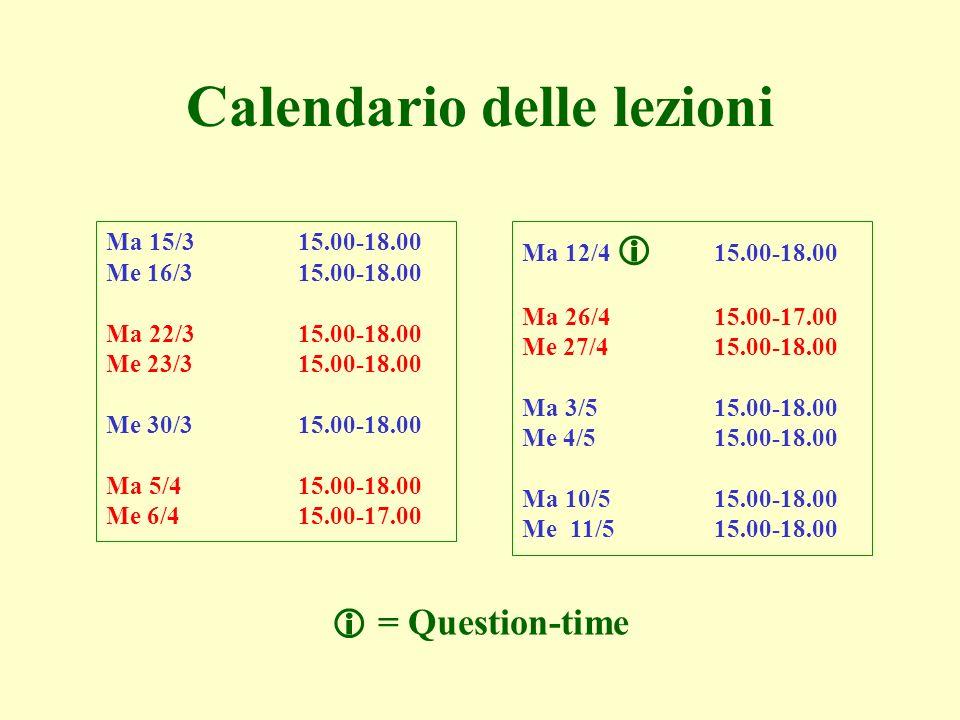 Ma 12/4 15.00-18.00 Ma 26/415.00-17.00 Me 27/415.00-18.00 Ma 3/515.00-18.00 Me 4/515.00-18.00 Ma 10/515.00-18.00 Me 11/515.00-18.00 Calendario delle l