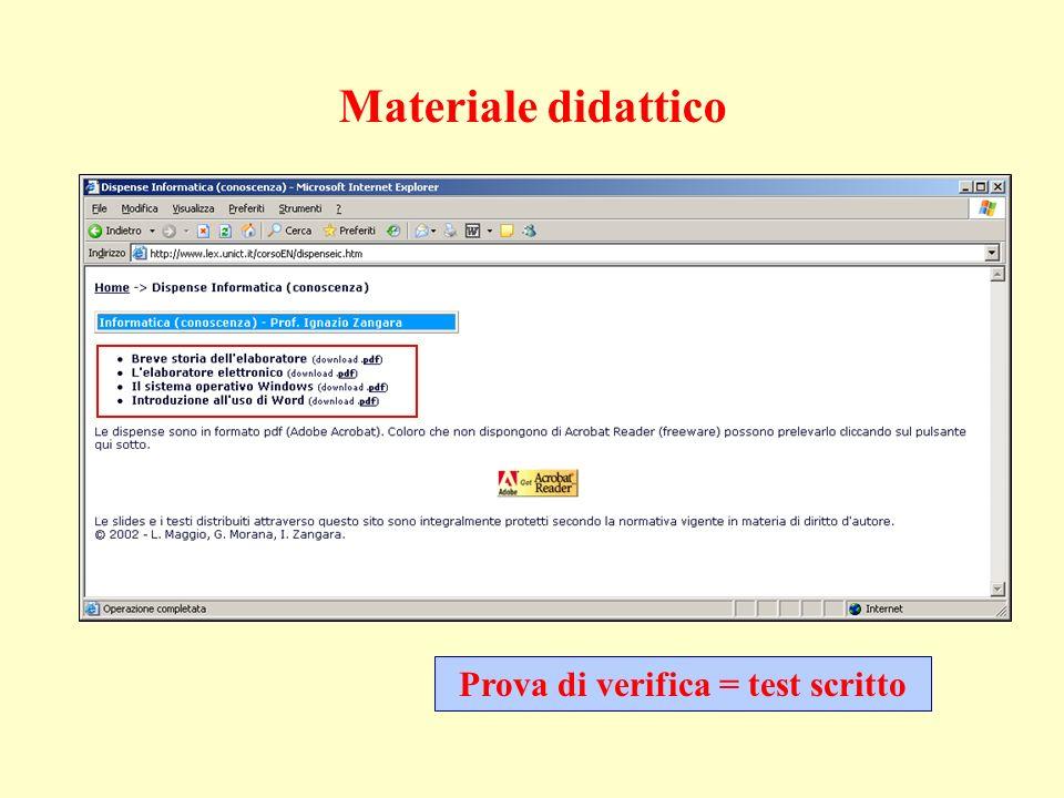 Prova di verifica = test scritto Materiale didattico