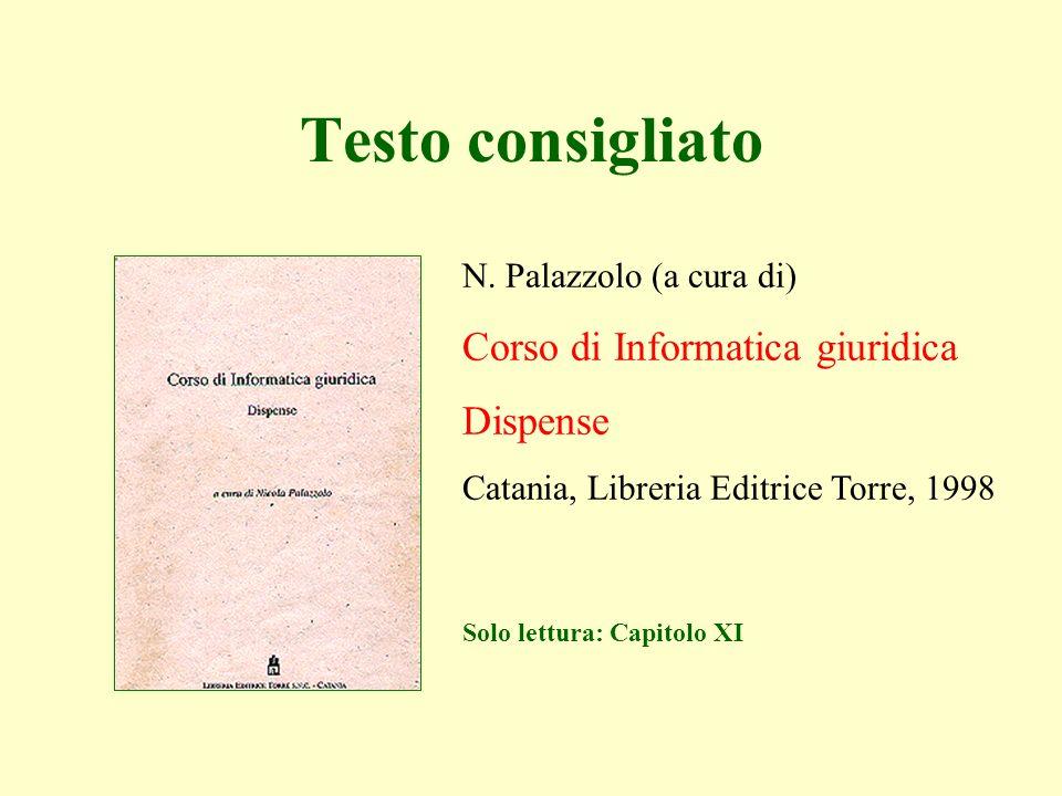 N. Palazzolo (a cura di) Corso di Informatica giuridica Dispense Catania, Libreria Editrice Torre, 1998 Testo consigliato Solo lettura: Capitolo XI