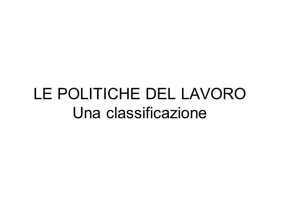 LE POLITICHE DEL LAVORO Una classificazione