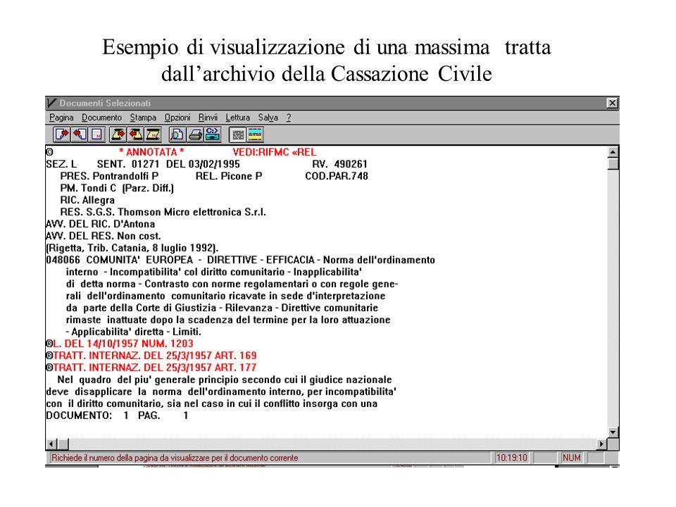 Esempio di visualizzazione di una massima tratta dallarchivio della Cassazione Civile