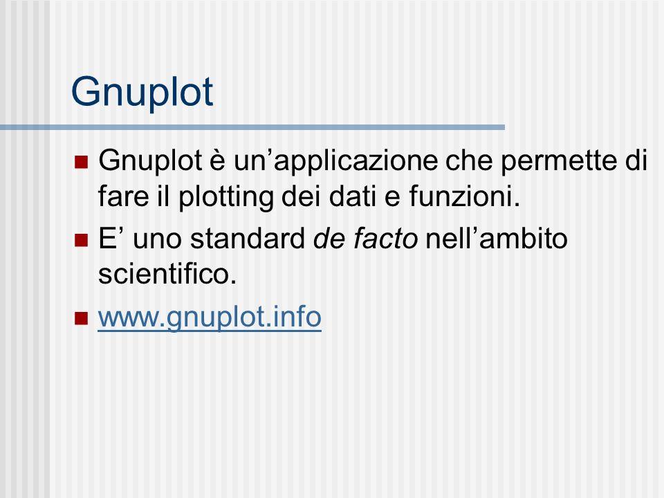 Gnuplot Gnuplot è unapplicazione che permette di fare il plotting dei dati e funzioni. E uno standard de facto nellambito scientifico. www.gnuplot.inf