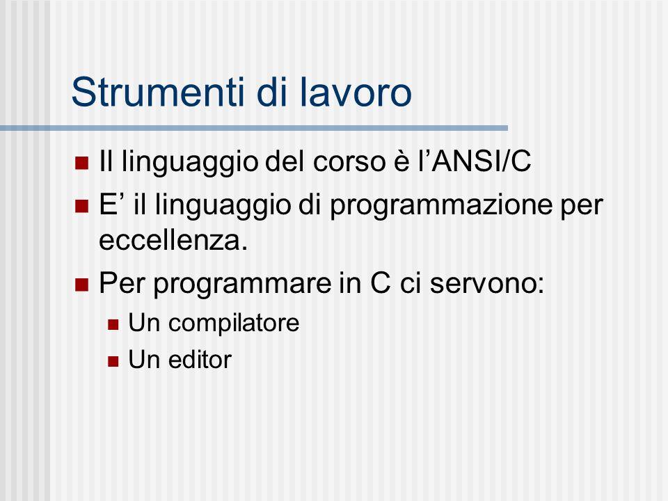 Strumenti di lavoro Il linguaggio del corso è lANSI/C E il linguaggio di programmazione per eccellenza. Per programmare in C ci servono: Un compilator