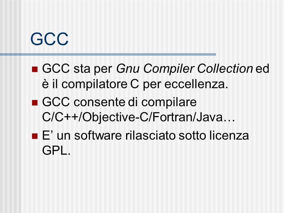 GCC GCC sta per Gnu Compiler Collection ed è il compilatore C per eccellenza. GCC consente di compilare C/C++/Objective-C/Fortran/Java… E un software