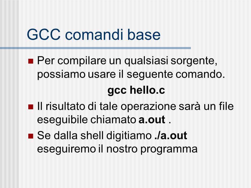 GCC comandi base Per compilare un qualsiasi sorgente, possiamo usare il seguente comando. gcc hello.c Il risultato di tale operazione sarà un file ese