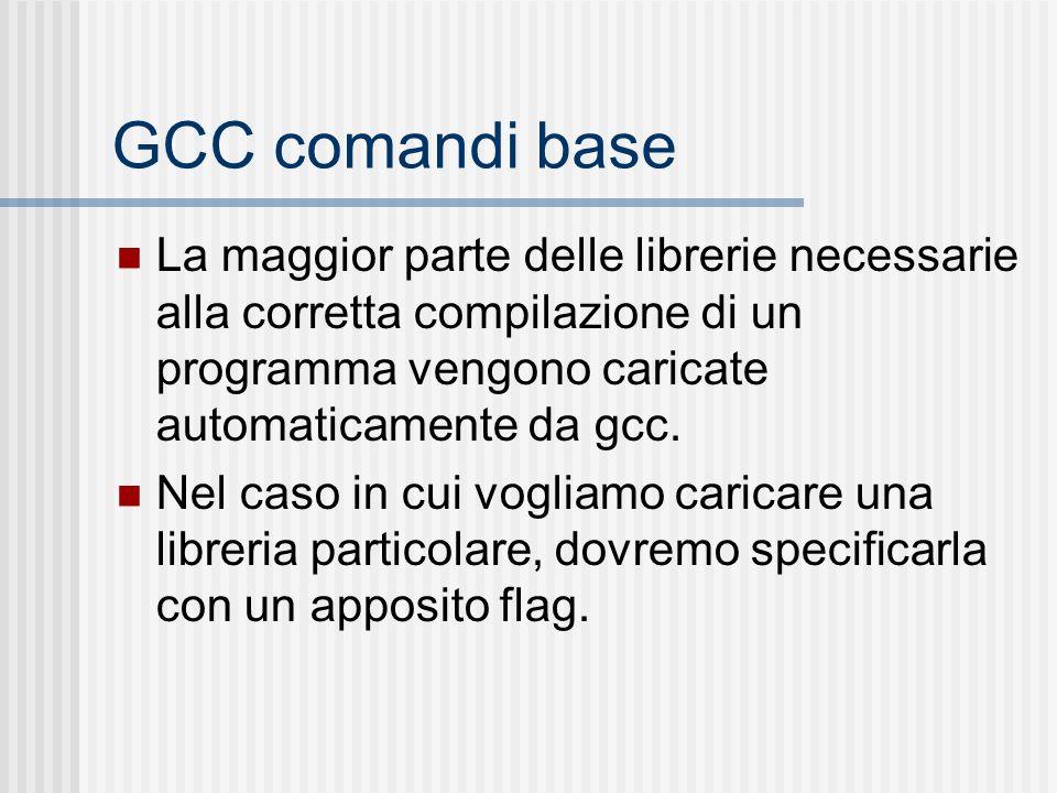 GCC comandi base La maggior parte delle librerie necessarie alla corretta compilazione di un programma vengono caricate automaticamente da gcc. Nel ca