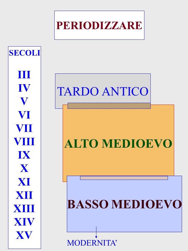 PERIODIZZARE SECOLI III IV V VI VII VIII IX X XI XII XIII XIV XV TARDO ANTICO ALTO MEDIOEVO BASSO MEDIOEVO MODERNITA