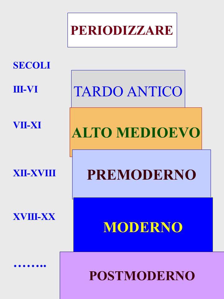 PERIODIZZARE TARDO ANTICO ALTO MEDIOEVO PREMODERNO MODERNO POSTMODERNO SECOLI III-VI VII-XI XII-XVIII XVIII-XX ……..