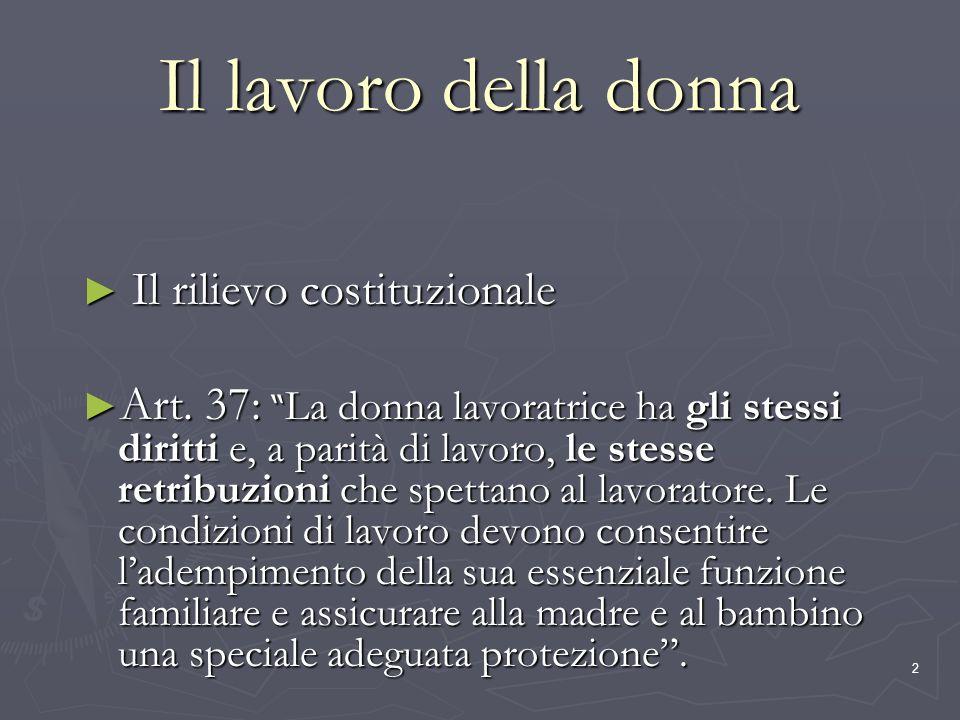 2 Il lavoro della donna Il rilievo costituzionale Il rilievo costituzionale Art. 37: La donna lavoratrice ha gli stessi diritti e, a parità di lavoro,