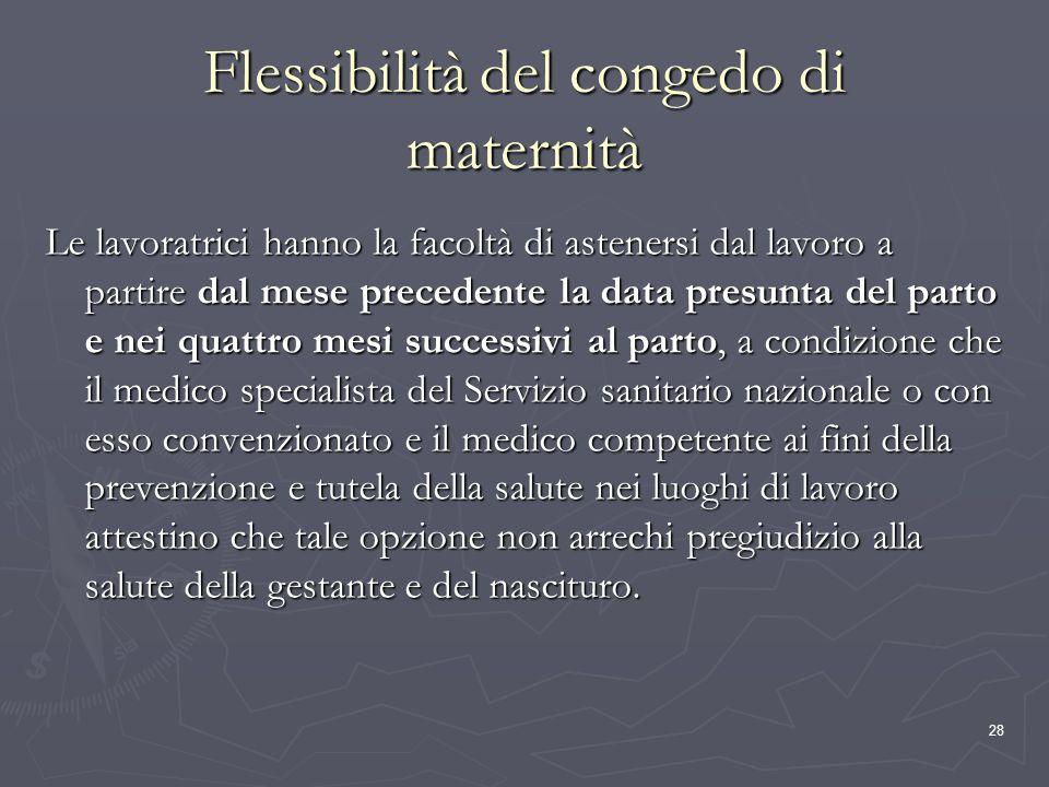 28 Flessibilità del congedo di maternità Le lavoratrici hanno la facoltà di astenersi dal lavoro a partire dal mese precedente la data presunta del pa