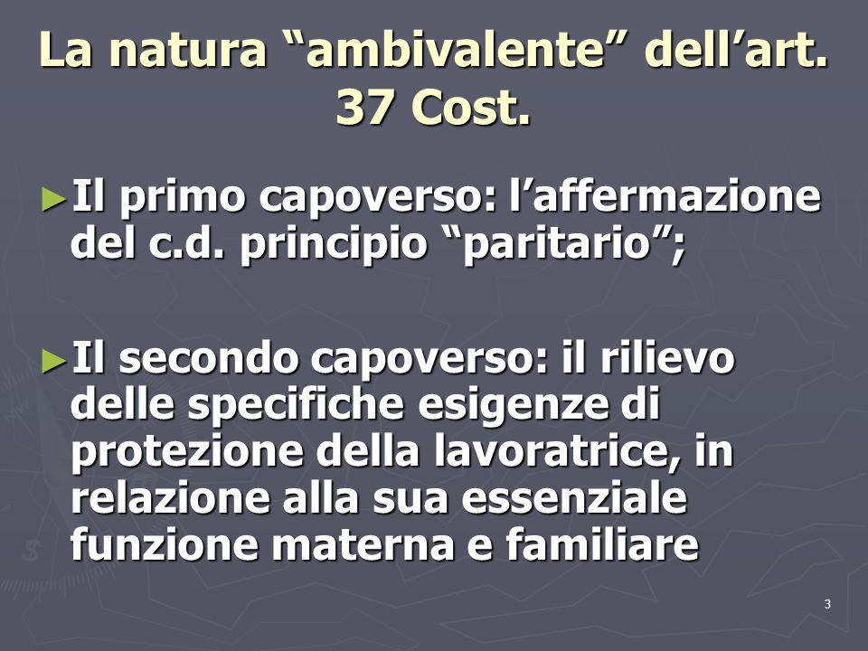 3 La natura ambivalente dellart. 37 Cost. Il primo capoverso: laffermazione del c.d. principio paritario; Il primo capoverso: laffermazione del c.d. p