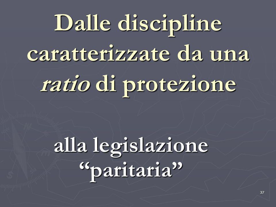 37 Dalle discipline caratterizzate da una ratio di protezione alla legislazione paritaria