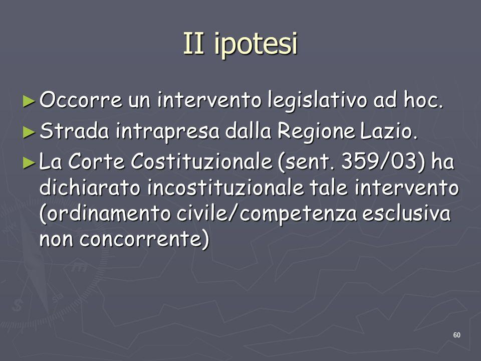60 II ipotesi Occorre un intervento legislativo ad hoc. Occorre un intervento legislativo ad hoc. Strada intrapresa dalla Regione Lazio. Strada intrap
