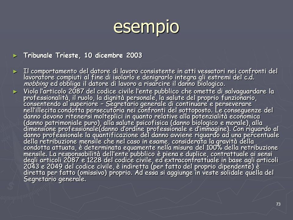 73 esempio Tribunale Trieste, 10 dicembre 2003 Tribunale Trieste, 10 dicembre 2003 Il comportamento del datore di lavoro consistente in atti vessatori