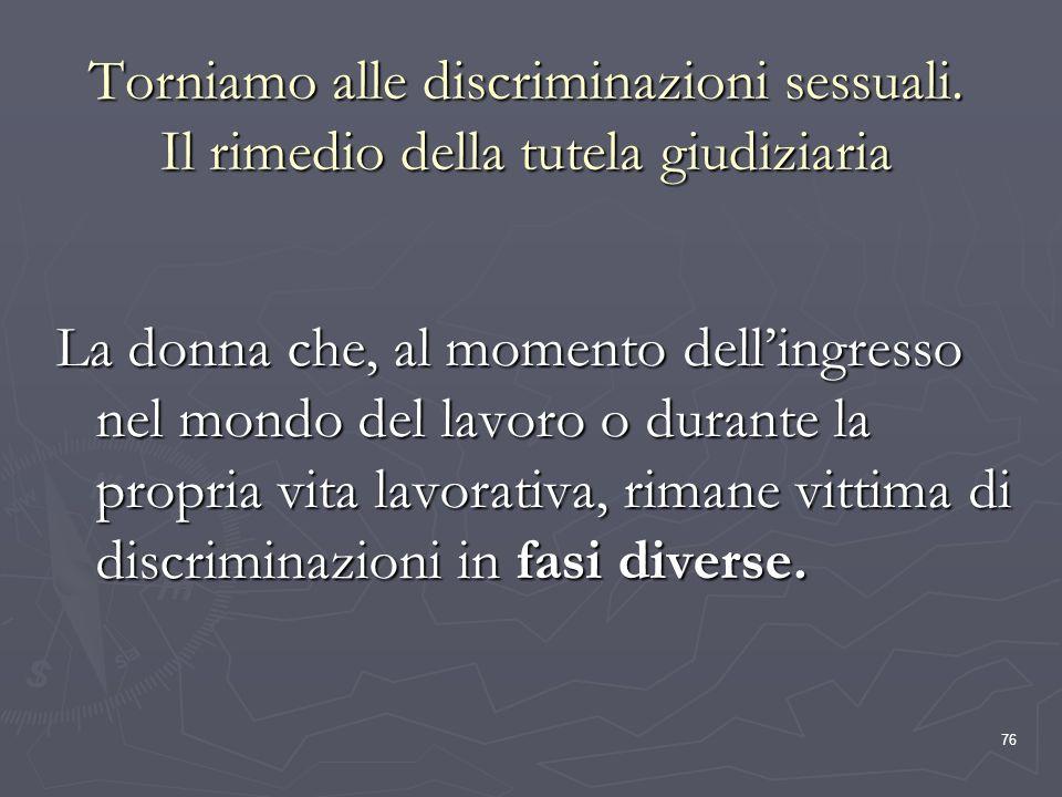 76 Torniamo alle discriminazioni sessuali. Il rimedio della tutela giudiziaria La donna che, al momento dellingresso nel mondo del lavoro o durante la