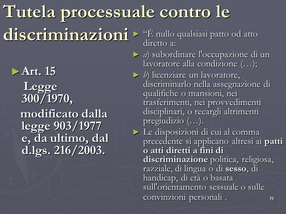 77 Tutela processuale contro le discriminazioni Art. 15 Art. 15 Legge 300/1970, Legge 300/1970, modificato dalla legge 903/1977 e, da ultimo, dal d.lg