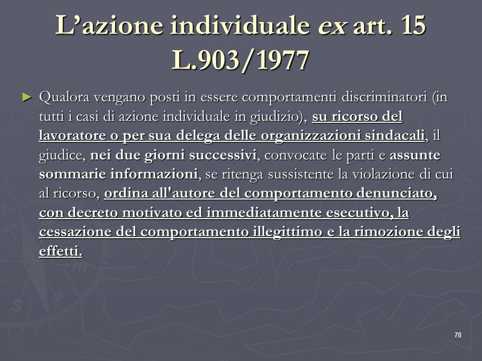 78 Lazione individuale ex art. 15 L.903/1977 Qualora vengano posti in essere comportamenti discriminatori (in tutti i casi di azione individuale in gi
