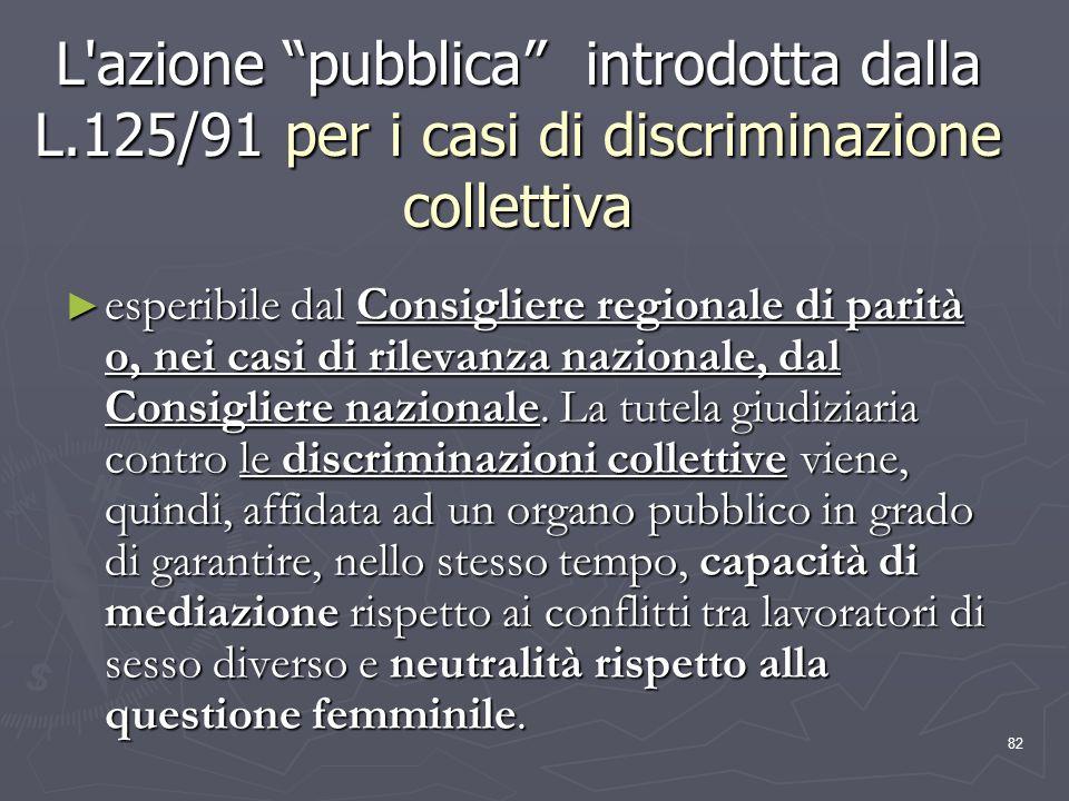 82 L'azione pubblica introdotta dalla L.125/91 per i casi di discriminazione collettiva esperibile dal Consigliere regionale di parità o, nei casi di
