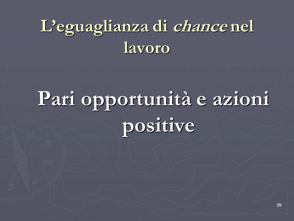 89 Leguaglianza di chance nel lavoro Pari opportunità e azioni positive
